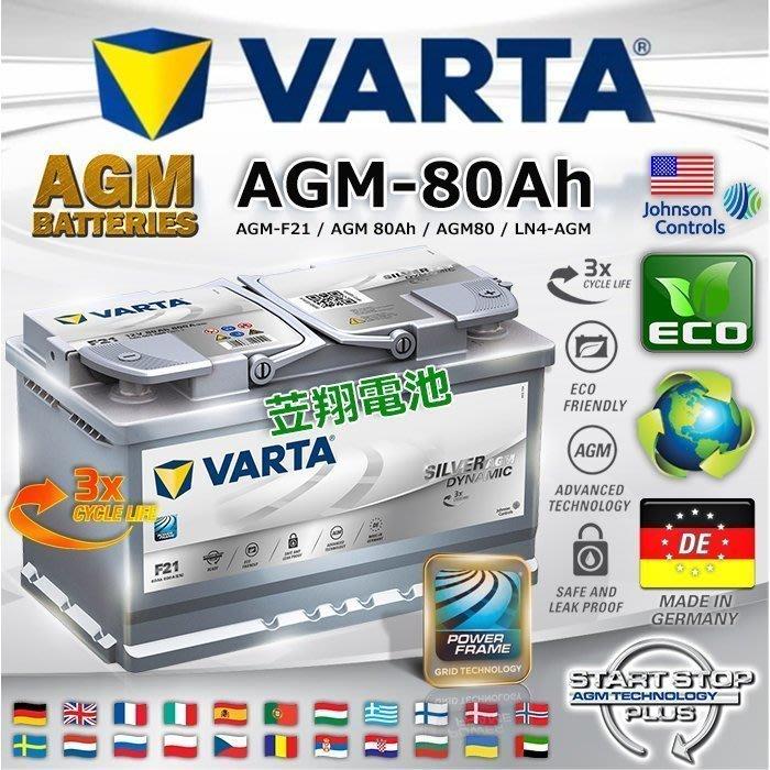 《鋐瑞電池》DIY自取交換 VARTA F21 80AH AGM C200 汽車電瓶 START-STOP 怠速起停系統