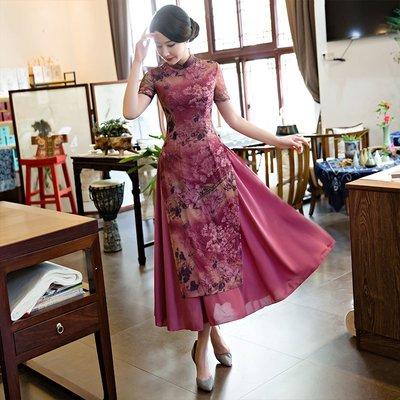 旗袍傳統服飾中國風 長款旗袍2019新款女中國風復古改良版奧黛套裝媽媽裝日常式連衣裙