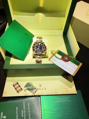 已賣出 已貼rx8 錶況新 香港原廠大全配 Rolex勞力士116613LN 半金黑水鬼 2015年 潛航者潛水腕錶