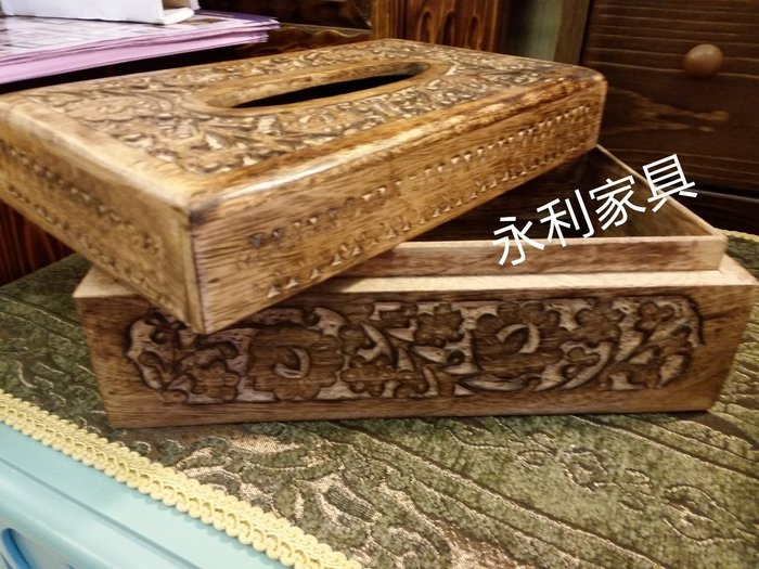 實木雕刻面紙盒,民宿 咖啡廳 品味獨特