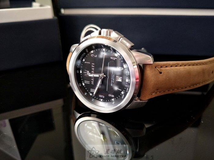 請支持正貨,瑪莎拉蒂手錶MASERATI手錶SUCCESSO款,編號:MA00056,黑色錶面褐色皮革錶帶款