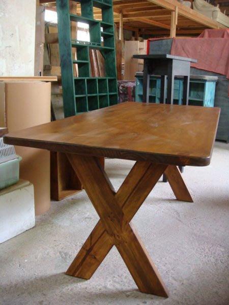 原木工坊~ 實木傢俱製作  厚實原木交叉腳餐桌