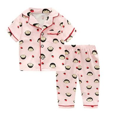 •*~ 辣媽咪衣飾小舖 ~*•❤童裝系列❤K950191韓版兒童夏款超可愛萌款『丸子』圖案家居服上衣+長褲二件套