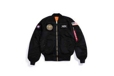 【YOYOGI PLUS】ALPHA MA-1 FLEX SLIM FLIGHT JACKET 徽章貼布 合身版 (黑)