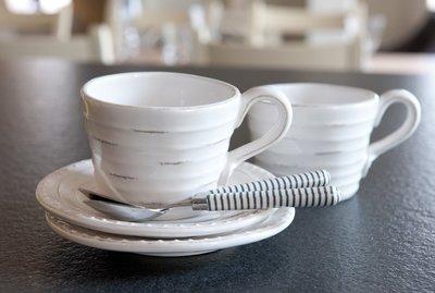 麻布花園zakka雜貨~法式做舊浮雕條紋花朵咖啡杯組~特價