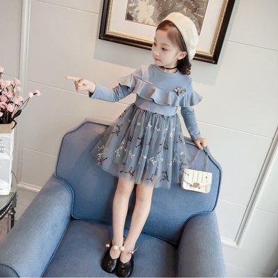 女童春秋款氣質洋服連衣碎花公主紗裙