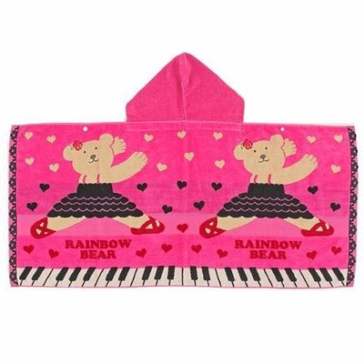 尼德斯Nydus~* 日本正版 彩虹熊 Rainbow Bear 浴巾 連帽 浴袍 披巾 琴鍵款100%純棉-日本製