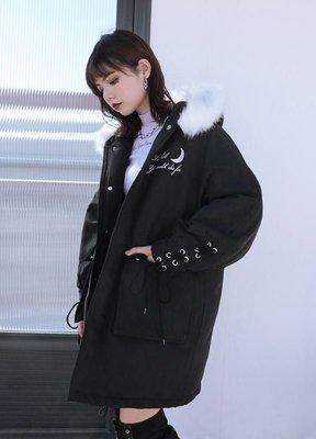 【黑店】原創設計 訂製款暗黑月亮中長版羽絨外套 個性外套保暖外套 個性禦寒外套SG141
