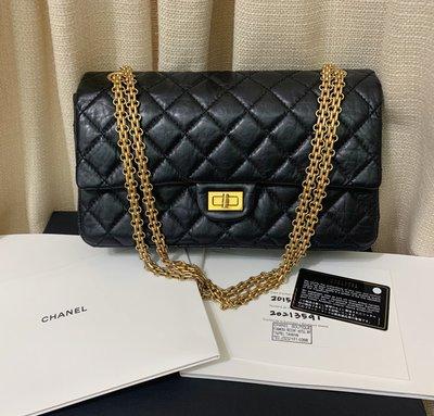 小巴黎二手名牌~九新真品 Chanel reissue 2.55 復刻 黑金鍊包 經典 28CM 雙蓋 20保卡