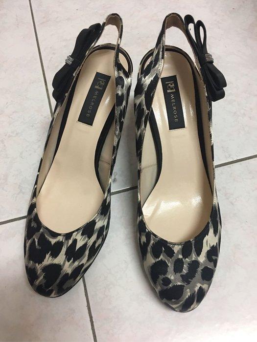 。☆like new☆。MELROSE粉色豹紋前加厚高跟鞋(23.5)//前1cm後8cm//原價$3780