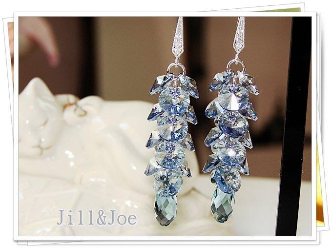 海洋藍光吊燈垂墬水晶長耳環˙Jill&Joe 設計款 施華洛世奇元素