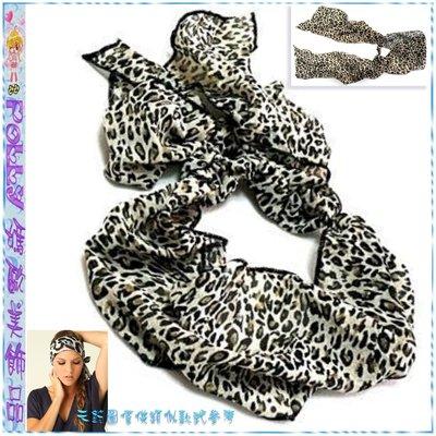 ☆POLLY媽☆歐美進口Tailed Headwrap豹紋緞質綁帶頭巾式寬版髮帶~2色系