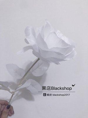 【黑殿】一朵白玫瑰 拍攝用仿真玫瑰花 全白玫瑰花 攝影道具白玫瑰 個性拍攝道具 暗黑系白玫瑰假花可自由變形外拍棚拍道具