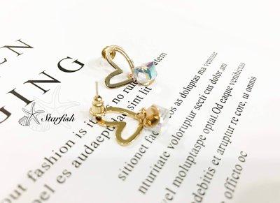 【海星 Starfish】|925銀針|💕氣質簡約簍空愛心水晶小垂墜耳環(彩晶)
