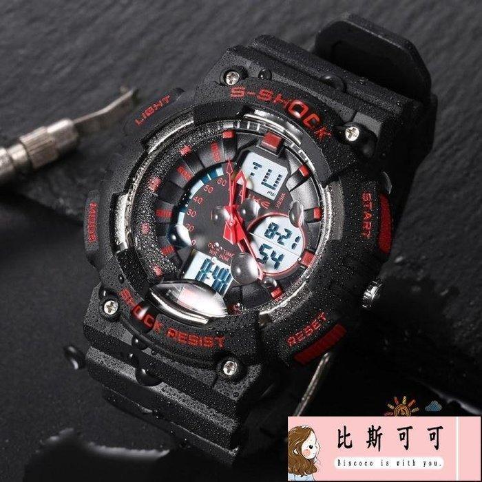 個性時尚雙顯電子手錶男多功能運動手錶深度防水游泳腕錶夜光WY【比斯可可】