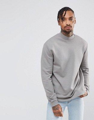 ASOS 米灰半高領長袖T 烏龜領  Sweatshirt with High Neck S 現貨