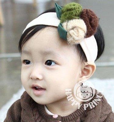 BHL081-韓劇童星愛用品牌HappyPrince 漂亮毛線玫瑰花寶寶嬰兒童髮帶【現貨】韓國製