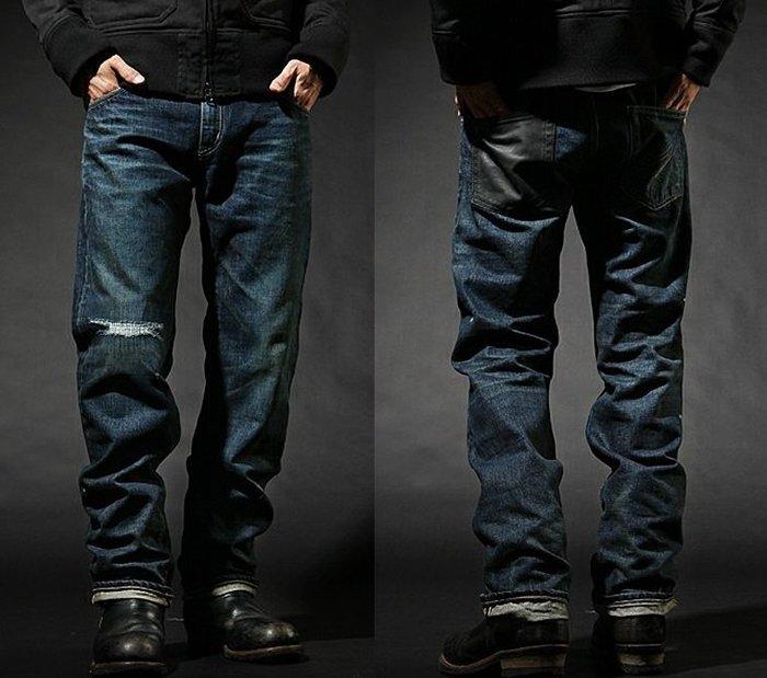 「NSS』NEIGHBORHOOD DEVILOCK  DENIM PANTS 聯名 破壞 牛仔褲 窄版 S 皮革