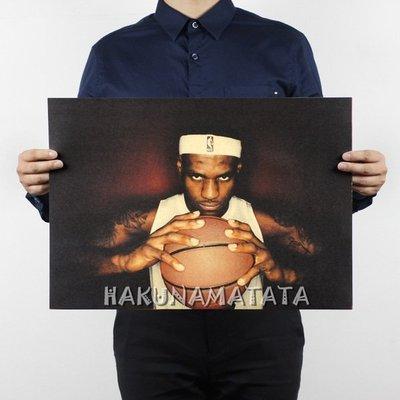 【貼貼屋】詹姆斯 LeBron James 小皇帝 NBA 懷舊復古 牛皮紙海報 壁貼 店面裝飾 交換禮物 849