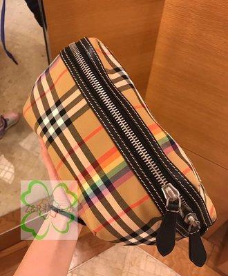 Z&R二手  Burberry 經典格紋腰包 絕版彩虹配色  100%真品 附購證
