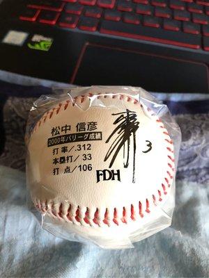 NPB 日本職棒 大榮鷹隊 松中信彥 2000年洋聯MVP 紀念球 LOGO球 印刷簽名球 二手舊物 意者下標