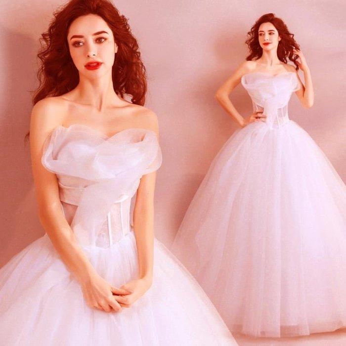 天使嫁衣 潮范兒 夢幻公主立體花抹胸新娘婚紗禮服2018新款 7598