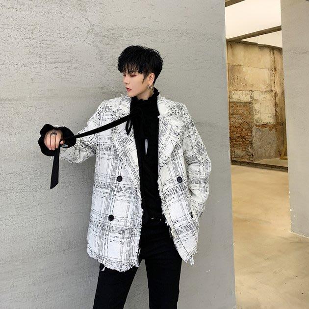 FINDSENSE 2019 秋冬上新 G19  復古粗紡氣質雙排扣毛邊洋氣小西裝男裝百搭寬鬆休閒外套
