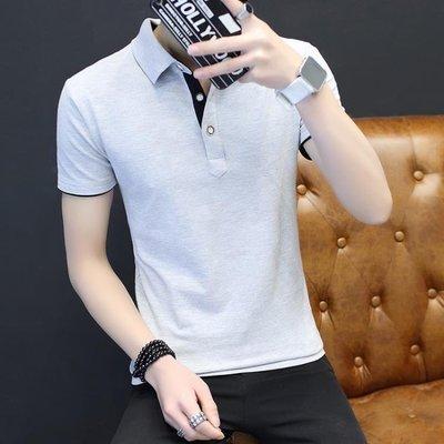 哆啦本鋪 夏季短袖T恤男士翻領半袖修身POLO衫休閒青年大碼男裝體恤潮 D655