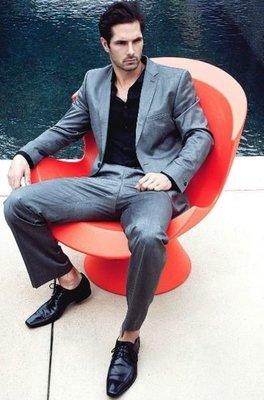 成套歐碼52【LANVIN Boutique 】浪凡七彩條紋100%頂級小羊毛單排三扣正式西裝套裝