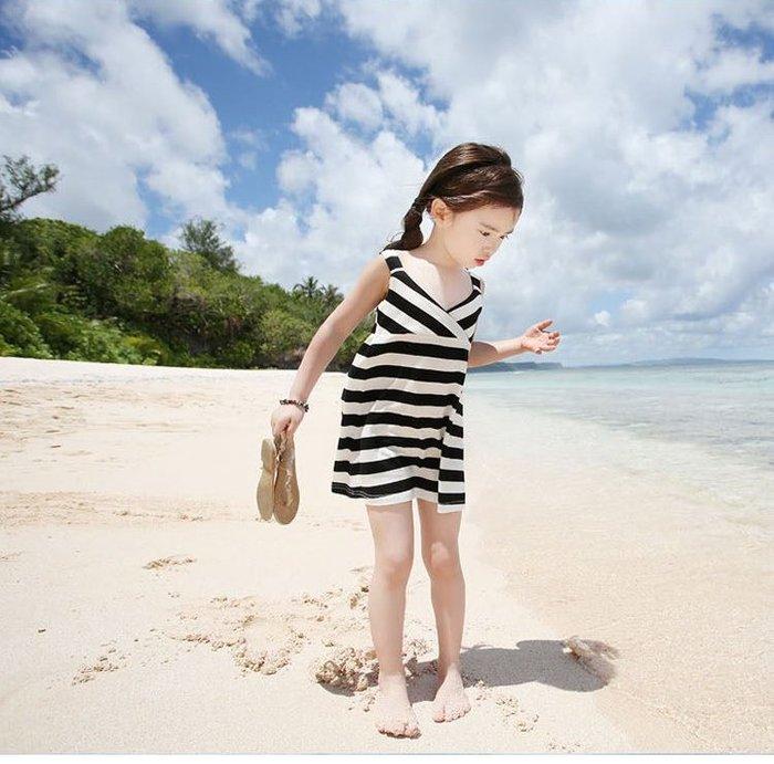 【溜。溜。選物】春季新款女童小清新條紋背心連衣裙可愛公主裙
