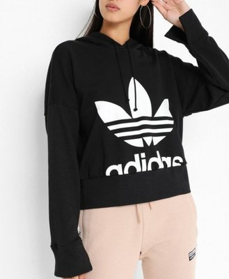 【吉米.tw】Adidas 女款 短版連帽上衣 大LOGO 三葉草 ORIGINALS EC1874 OCT a