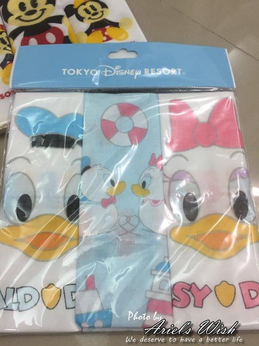 Ariel's Wish日本迪士尼阿卡將唐老鴨黛西純棉紗布巾手帕毛巾口水巾圍兜彌月禮品組BABY滿月周歲禮-日本製-現貨
