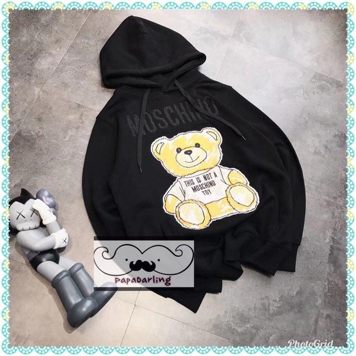 PapaDarling 20SS 歐美潮牌Moschino 同款 素描小熊寬鬆連帽長袖T恤