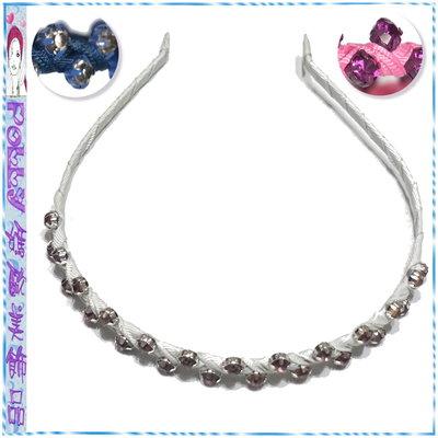 ☆POLLY媽☆歐美進口整圈交錯抓鑽羅緞纏繞細版髮箍~粉紅色、海軍藍、灰色