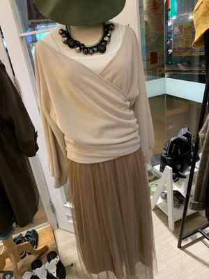 正韓商品 2件式紗裙洋裝  杏色、黑色氣質洋裝 長洋裝