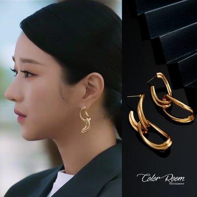 啊南飾品徐睿知同款耳環小眾設計感金色耳圈冷性風金屬耳飾香港高級感ins