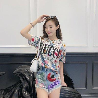 《巴黎拜金女》G家女裝花卉logo印花T卹圓領寬鬆短袖上衣純棉