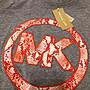 MICHAEL KORS MK 女生純棉灰色橘紅蛇紋logo短袖上衣