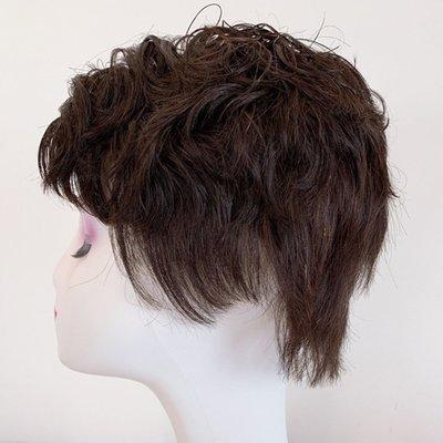 整頂假髮真髮絲短假髮-自然蓬鬆中分微捲女假髮2色73vr27[獨家進口][米蘭精品]