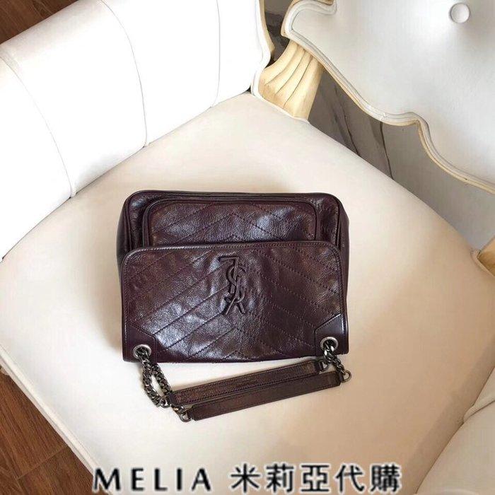 Melia 米莉亞代購 歐洲代購 Saint Laurent YSL 18ss 8月新品 復古鍊條皺褶包 油蠟牛皮 深棕