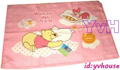 ==YvH==Pillowcase Disney Winnie 粉色維尼熊枕巾 毛巾布 約40x60cm(現貨)