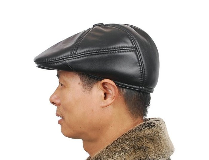 NYCT 韓國連線熱賣限定原創 高品質訂製 歐美百搭時尚必備款真羊皮帽子男冬季中老年鴨舌帽老人帽子男保暖前進帽男帽