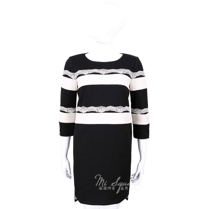 米蘭廣場 CLASS roberto cavalli 黑色條紋蕾絲拼接七分袖洋裝 1440576-37