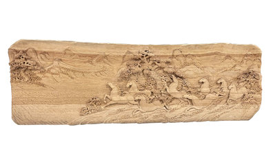 【永茂二手家具館】中古傢俱 家電*B81911*檜木雕刻8駿馬擺飾*掛匾擺設 收藏藝品 風水擺飾 雕刻品 木雕 台北台中