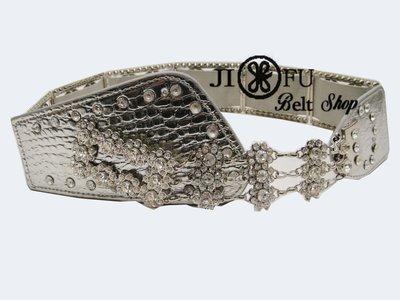 現貨供應*JIFU 鉅釜皮帶配飾*韓版美鑽鏈式彈性腰帶H138(銀色)