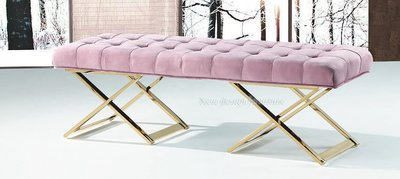 【N D Furniture】台南在地家具-鍍金色五金腳座粉色絨布5尺床尾椅/等待椅/醫美診所候客椅YQ