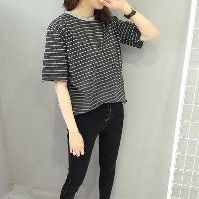 【UBY】領口撞色!韓國簡約條紋短袖圓領衣◄No04101