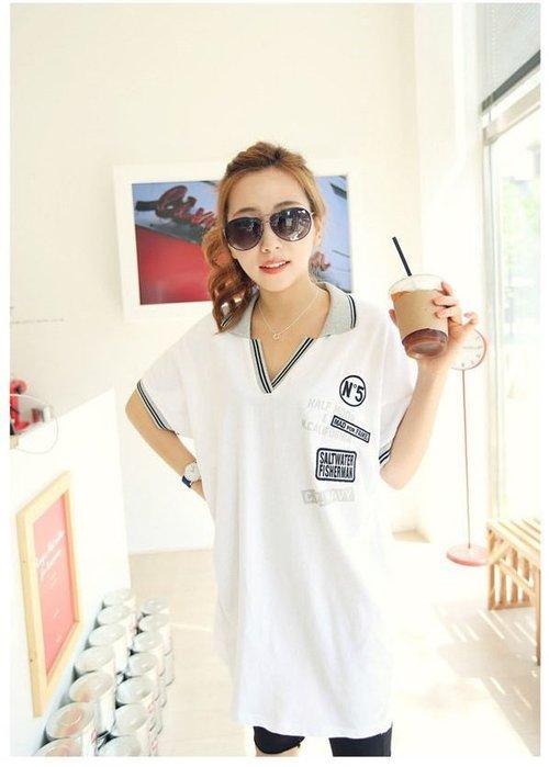 ☆Candy Box☆韓版女裝寬鬆POLO領翻領字母休閒时尚短袖T恤 (L) Z2312351
