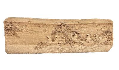 【永茂二手家具館】中古傢俱 家電*B81911*檜木雕刻8駿馬擺飾*掛匾擺設 收藏藝品 風水擺飾 雕刻品 木雕 收藏