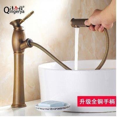 【優上精品】歐式全銅抽拉式面盆水龍頭美式複古金色洗手盆仿古台上盆水龍頭(全銅(Z-P3162)